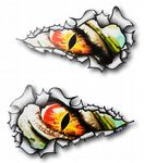 SMALL Long Pair Ripped Metal Design With EVIL EYE Monster Vinyl Car Sticker 73x41mm